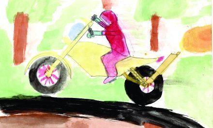 Watercolour biker